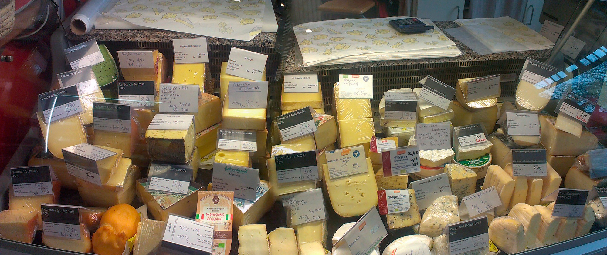 große Auswahl an leckeren Käsesorten
